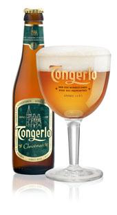 Packshot Tongerlo Blond fles+glas met spiegeling